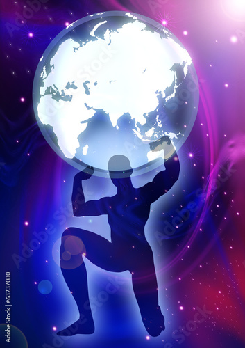 A man figure lifting up the Globes on cosmic background