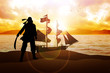 Silhouette illustration of a pirate and a sailboat