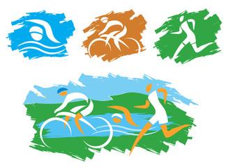 Triathlon grunge symbols