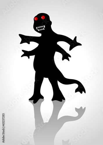Silhouette illustration of a strange creature