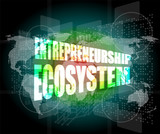 entrepreneurship ecosystem word on business digital touch screen poster