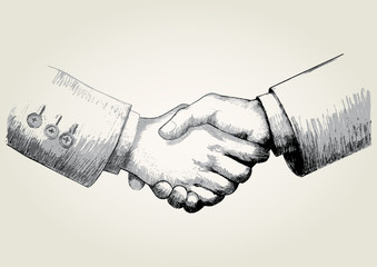 Sketch illustration of shaking hands