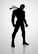 Silhouette illustration of a superhero in a mask