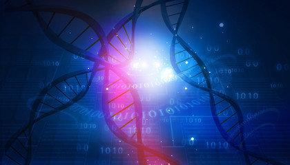 DNA structure on abstract digital background