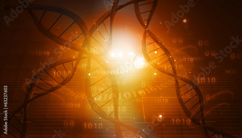 DNA structure on abstract digital background .