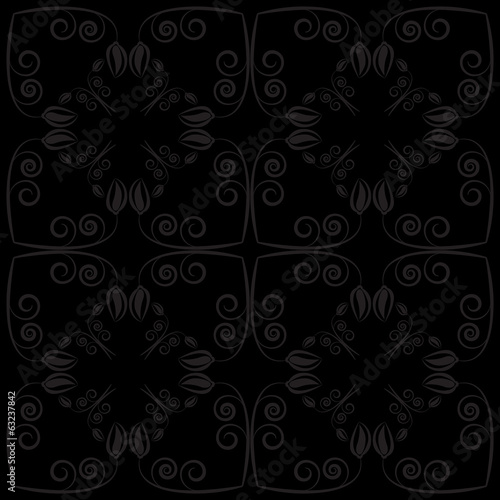 Black flower and leaf background vector