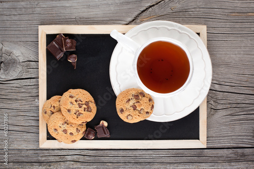 Chocolate chip cookies and cup of tea