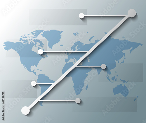 illustration of infographic with lines and world map
