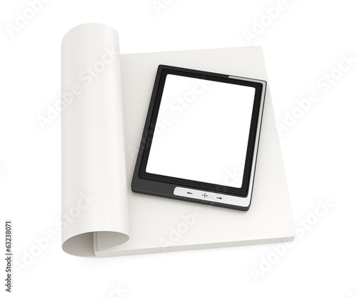 Electronic book and stack of paper