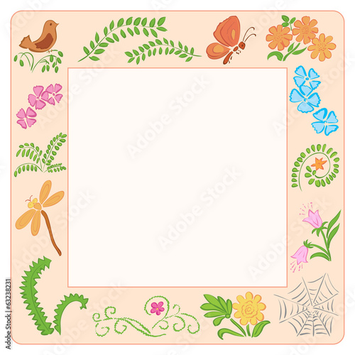 frame with nature elements - vector illustration