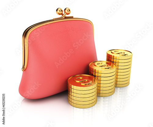 Purse and coins stack