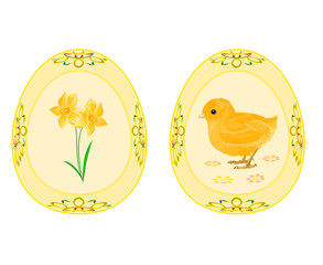 Easter eggs theme daffodil and baby chicken