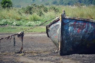 Wrecked boat in Fort William, Scotland,