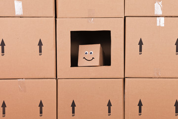 Small Happy Cardboard Box
