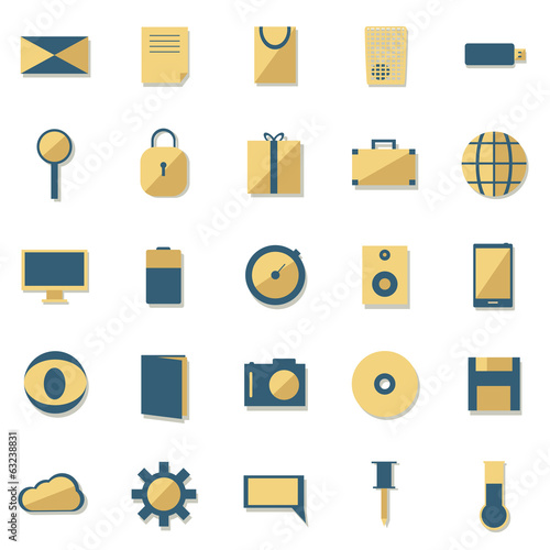 Isolated flat icons set