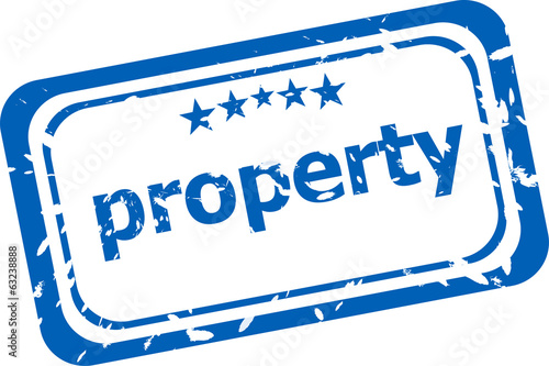 property on rubber stamp over a white background