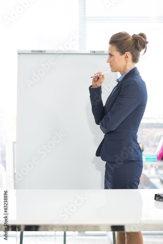 Thoughtful business woman standing near flipchart