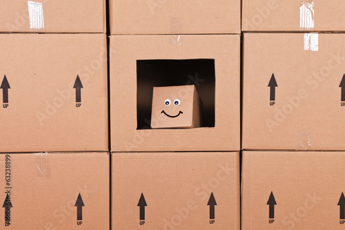 Small Happy Cardboard Box