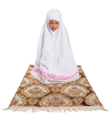 Young Muslim Girl Perform A Prayer