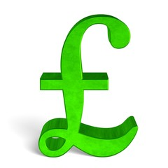 Green pound sterling sign on white front view