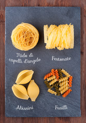 Set of traditional Italian pasta
