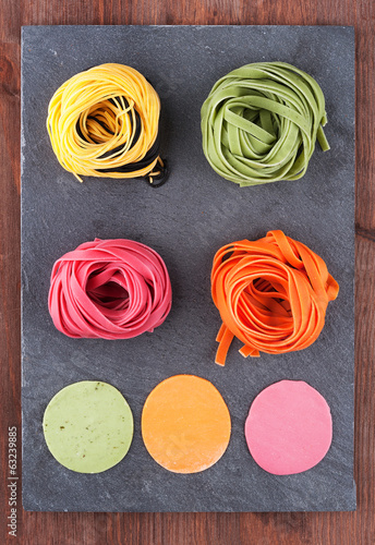 Homemade noodles and dough of different colors