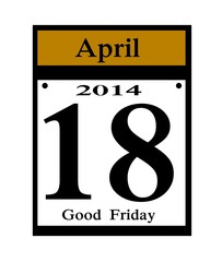 2014 Good Friday calendar date icon