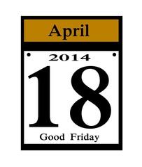 2014 Good Friday calendar date icon