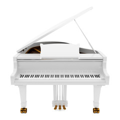 white grand piano isolated on white background