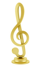 golden treble clef statuette isolated on white background