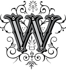 Beautifully decorated English alphabets, letter W