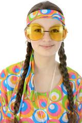 Teenager als Hippie verkleidet