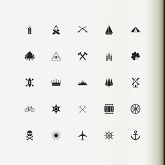 Set icons. Badge. Tourism, climbing, agriculture, hunting.