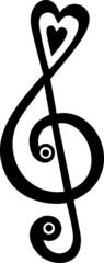 Notenschlüssel Herz Musik Note Violinschlüssel