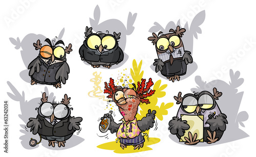 Cartoon owls group - a formals surround a roisterer.