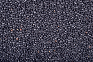Black raw lentil background