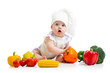 funny baby cook with healthy  food vegetables