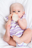 adorable child drinking milk from bottle