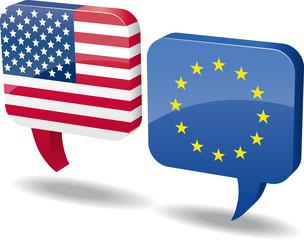 Sprechblasen Dialog US - EU vector
