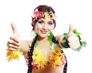 girl with Hawaiian thumbs up