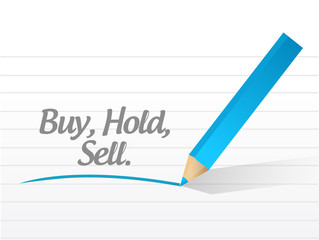 buy hold and sell messages. illustration