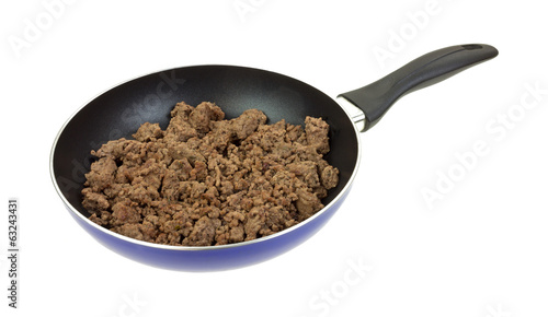 Ground Beef In Pan Cooked Side View