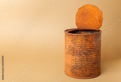 Old rusty tin