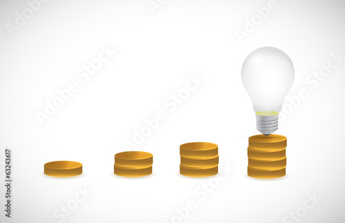 great idea light bulb graph illustration design