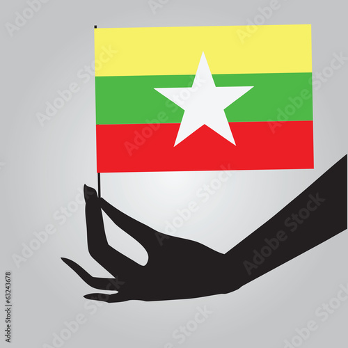 Burma flag in his hand
