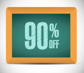 90 percent discount message illustration
