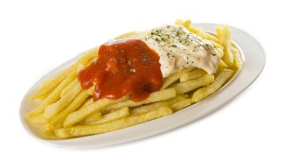 patata con salsas