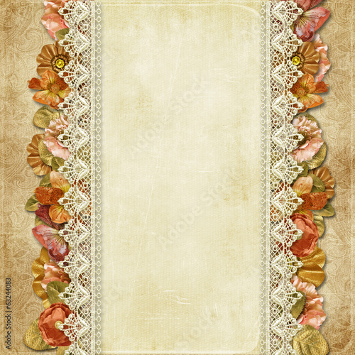 .Vintage background with gorgeous flowers and lace