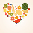 Heart From Fruit, Isolated, Vector Illustration.