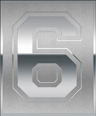 Silver Casted Number 6 Position, Place Sign